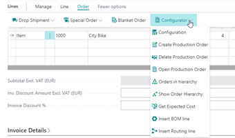 Configuration from the Sales Order Line in Dynamics 365 Business Central